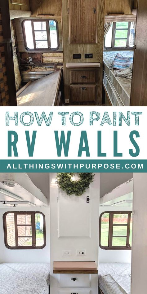 How to Paint the Interior Walls of an Old RV: Tips and Advice - Everything you need to know about painting the interior of your RV! Whether you're painting over wallpaper or fake wood, here is what you need to know. Camping Ideas, Camping Diy, Camping Outdoors, Camping Essentials, Mercedes Camper, Vw Camper, Camper Life, Tiny Camper, Caravan Vintage