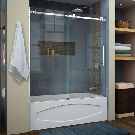 Dreamline Enigma Air 56 In To 60 In X 62 In Frameless Sliding Tub Door In Polished Stainless Steel Tub Shower Doors Bathtub Doors Shower Doors