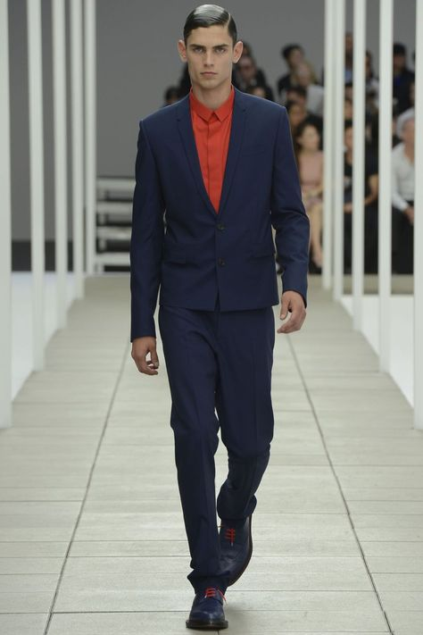 Blue and red always a good combo.  /// Dior Homme Spring/Summer 2013  #fashion #menswear