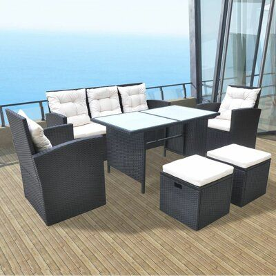 Set Da Pranzo In Rattan.Ivy Bronx Southport Outdoor Dining Set 18 Pieces Poly Rattan Black