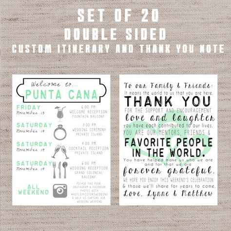 SET OF 20** Destination Wedding Welcome Bag Letters AND Guest - wedding weekend itinerary template