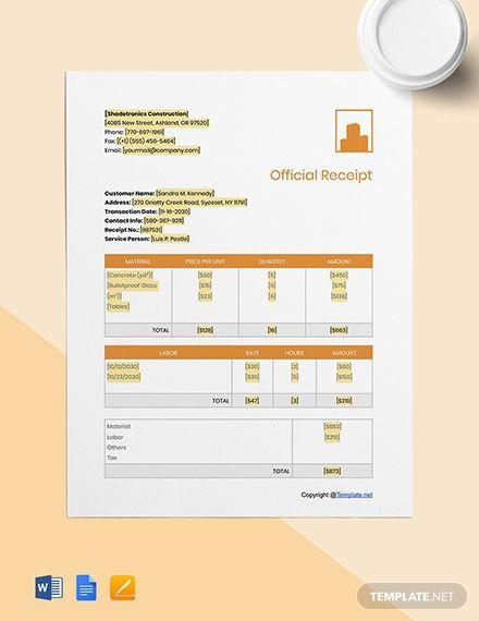 Basic Construction Receipt Template Free Pdf Google Docs Google Sheets Excel Word Template Net Receipt Template Templates Receipt