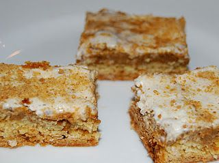 """Pumpkin Pie Bars- 1 yellow cake mix (reserve almost 1 cup)  1 egg  1 stick of butter (melted)    Filling:  1 (20 oz) can of pumpkin puree  2/3 c brown sugar  2 tsp pumpkin pie spice  1 tsp cinnamon  2 eggs  2/3 c milk  Topping:  4oz cream cheese, softened  1 1/2 c Cool Whip (thawed but not melted)  2 c powdered sugar  graham cracker crumbs  Mix cake mix, egg and butter. Press into 13x9"""" pan. Mix pumpkin filling and pour over crust. Sprinkle with reserved dry cake mix. Bake at 350º for 45-50 minutes. Mix cream cheese, Cool Whip, and powdered sugar - spread on top of cooled cake. Sprinkle with graham cracker crumbs. Refrigerate and then cut into bars. Keep them stored in fridge."""