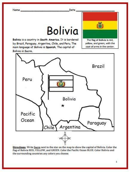 Color And Learn Geography Bolivia Bolivia Geography Lessons Geography