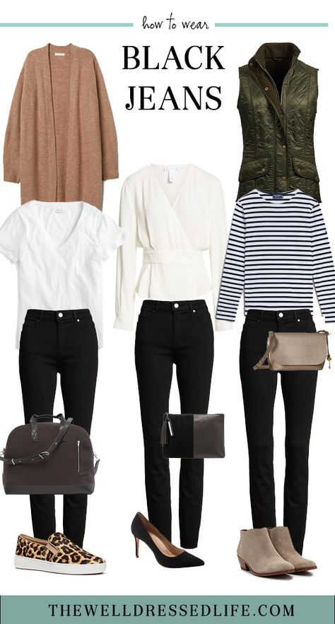 Discover super cute outfits with black jeans for casual days, travel, and date night. Plus, the best black jeans at all price points. Mode Outfits, Jean Outfits, Casual Outfits, Fashion Outfits, Fashion Fashion, Jeans Fashion, Fashion Tips, Fall Winter Outfits, Autumn Winter Fashion