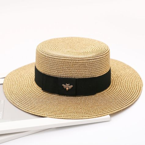 5b713c8a HSS 2017 New Summer Women Hats Bling Golden Fashion straw hat England Sea  Beach trip caps fast shipping