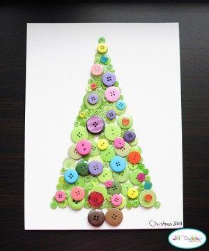 Lavoretti Di Natale Con I Bottoni.Albero Di Natale Su Carta Con Bottoni Colorari Da Utilizzare