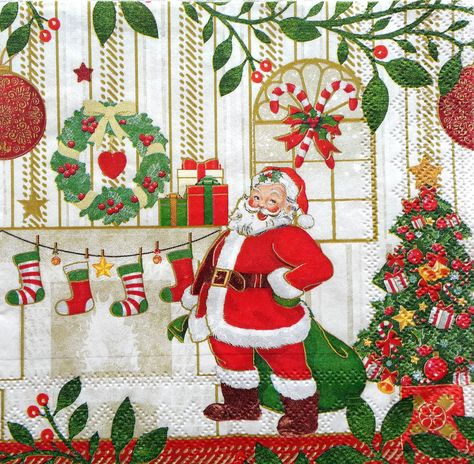 4x Paper Napkins for Decoupage Decopatch Craft Christmas Eve