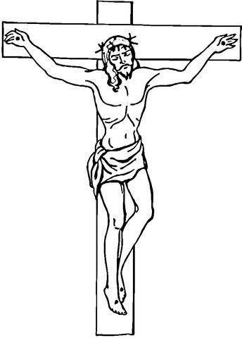 Jesus En La Cruz Para Colorear Cross Coloring Page Jesus On The Cross Cross Drawing