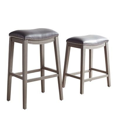 Halsted Pewter Backless Counter Bar Stool With Stone Gray Wood