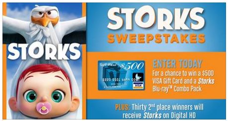 Warner bros win a 500 visa gift card and a storks blu ray win a 500 visa gift card and a storks blu ray negle