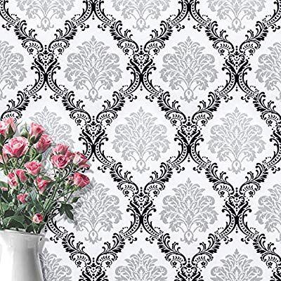 White Black Peel And Stick Wallpaper Removable Wall Paper Damascus Flower White Wallpaper Black Conta In 2020 Wallpaper Shelves Adhesive Vinyl Peel And Stick Wallpaper
