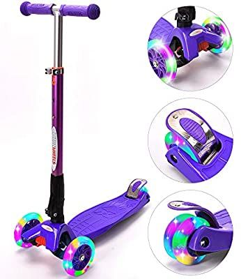New Olym Kick Scooters For Kids Kids 3 Wheel Scooter Boys Girls With Adjustable Height Lean To Steer Light Up Wheels Gre Kids Scooter Toddler Scooters Scooter
