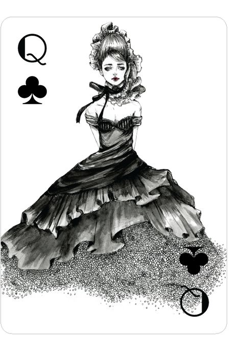 Playing Cards - Queen Of Clubs, Fashion Playing Cards by Connie Lim - playingcards, playingcardsart, playingcardsforsale, playingcardswithfriends, playingcardswiththefamily, playingcardswithfamily, playingcardsgame, playingcardscollection, playingcardstorage, playingcardset, playingcardsfreak, playingcardsproject, cardscollectors, cardscollector, playing_cards, playingcard, design, illustration, cardgame, game, cards, cardist