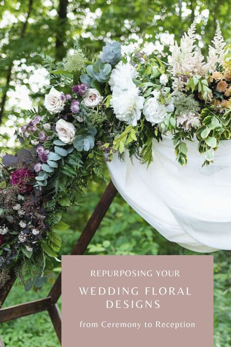 A decorative arch, like our wooden hexagon is a stunning backdrop that can transform any ceremony location. We often relocate it behind a head table to create a nice vignette behind the couple. #hexagonarch #ceremony #backdrop #weddingflowers #weddingbudget #weddingplanner #planningtips