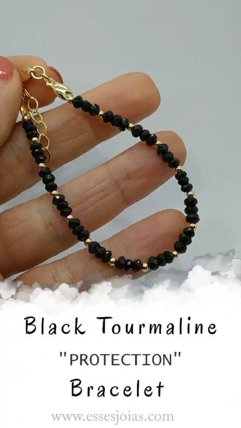 Black Tourmaline Matte Agate Stone Protection Yoga Beaded Stretch Bracelets J/_AI