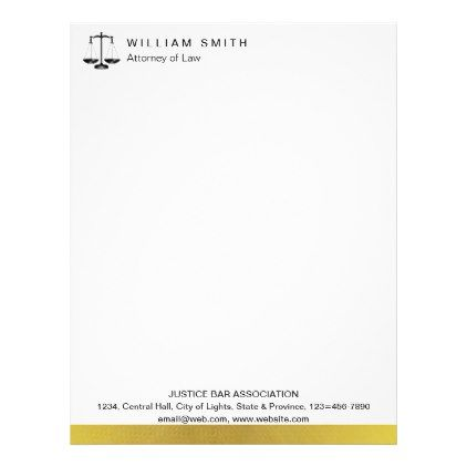 Attorney At Law Gold Metal Legal Scale Lawyer Letterhead Zazzle