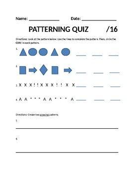 Patterning Quiz Grade 2 2nd Grade 2nd Grade Math Math Stations