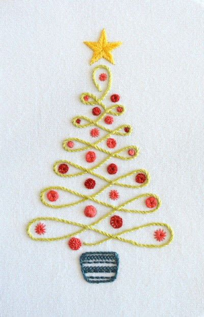 Christmas Tree Christmas Embroidery Patterns Embroidered Christmas Ornaments Embroidery Cards Pattern