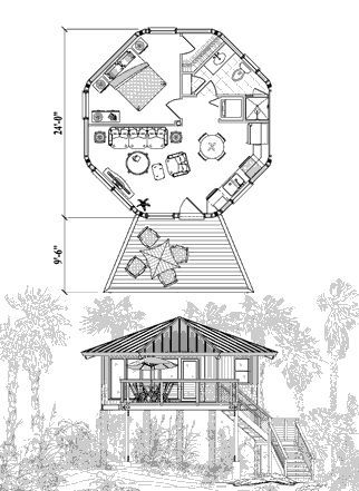 Piling House Plan PG-0102 (475 Sq Ft) 1 Bedrooms 1 Bathrooms