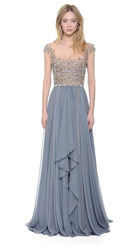 GORGEOUS EMBROIDERED ILLUSION DROP SHOULDER BLUE SMOKE GOWN