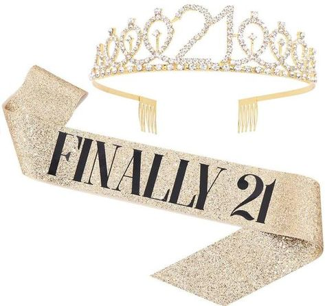 21st Birthday Themes, 21st Birthday Sash, 21st Bday Ideas, Birthday Tiara, 21st Birthday Decorations, 21st Birthday Outfits, Birthday Goals, Happy 21st Birthday, Golden Birthday