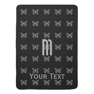 Custom Silver Butterfly Pattern Black Monogram Baby Blankets