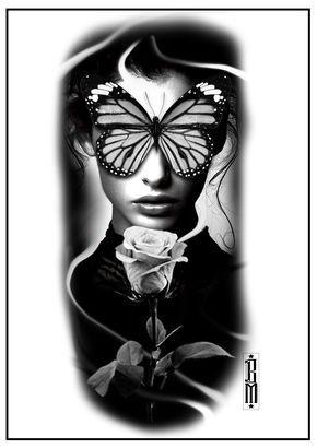 Butterfly Face Tattoo Woman Design Digital Black And Grey Tattoos Grey Tattoo Face Tattoos For Women Black And Grey Tattoos