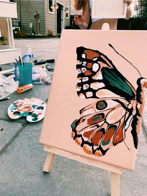 Art Drawings, Small Canvas Art, Cute Canvas Paintings, Art Inspiration, Art Painting, Watercolor Art, Painting Art Projects, Diy Art, Diy Canvas Art