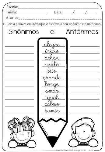 Atividade Pronta Sinonimo E Antonimo Antonimos Sinonimos Y