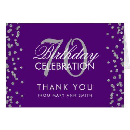 Silver Purple 70th Birthday Thank You Confetti