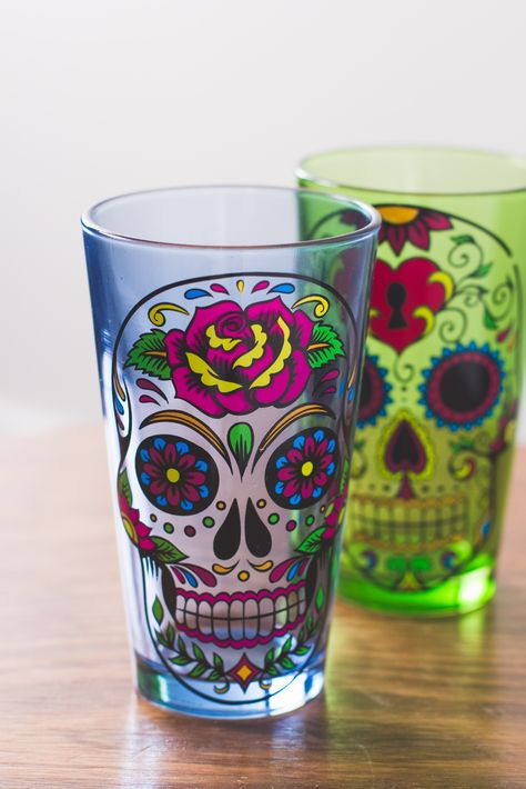 Sugar Skull pint glasses. #SugarSkull #Cheers #earthboundtrading