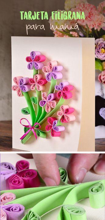 27d849e7e08d2 Di lo que sientes este Día del Amor y la Amistad con esta tarjeta decorada  con flores de filigrana. Se ve hermoso y podrás hacer el diseño que más te  guste.