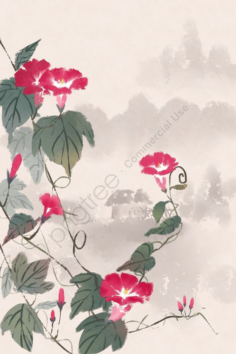 Ancient flower painting ink antiquity chinese style illustration image