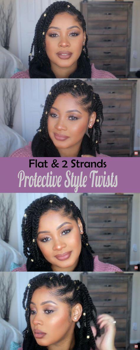 Kids natural hair styles | flat twists & 2 strand twists tutorial.