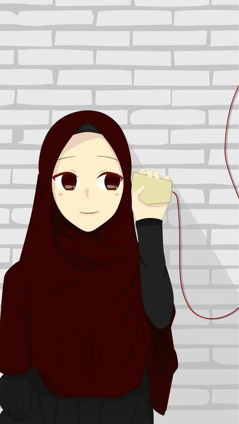 Muslim Couple Wallpaper Girl Kartun Seni Islamis Ilustrasi