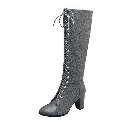 YE Damen Kniehoch Stiefel Blockabsatz High Heels mit