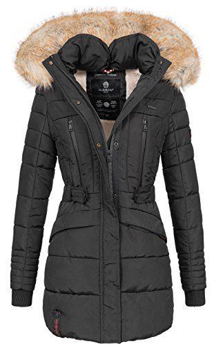 Marikoo Damen Winter Jacke Parka Mantel Winterjacke Warm Gefuttert Kapuze B608 Winterjacke Damen Parka Mantel Jacken