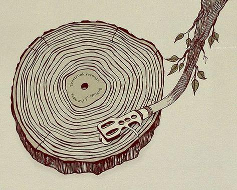 Sounds for the ages! We love this tree inspired vinyl art! Arte Hip Hop, Music Illustration, Vinyl Junkies, Music Images, Dj Music, Music Tattoos, Vinyl Art, Art Inspo, Vinyl Records