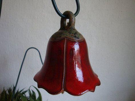 Photo of klingende Glockenblume 9 cm rot Keramik, getöpfert, Gartenkeramik, als Geschenk zum Muttertag, Gebur