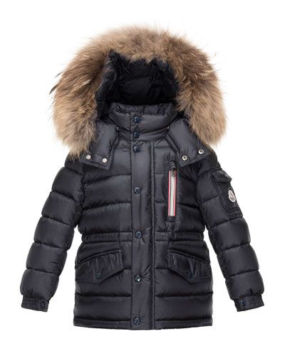 Puffer Coat Warm Faux Fur, Black Coat With Fur Hood Children S