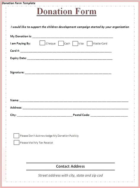 Fundraising Form Template With Images Donation Form