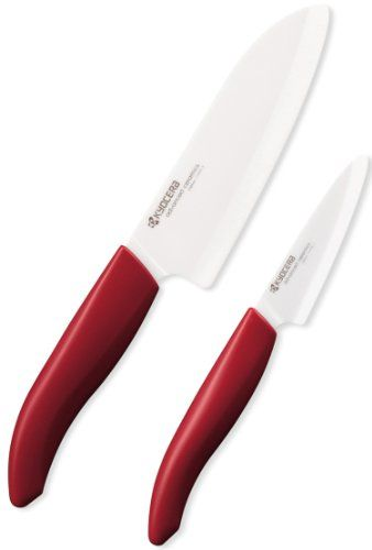 Kyocera 2-Piece Cutlery Gift Set, 5.5-Inch Santoku and 3-Inch Paring Knife, Red Kyocera Industrial Ceramics Corporation