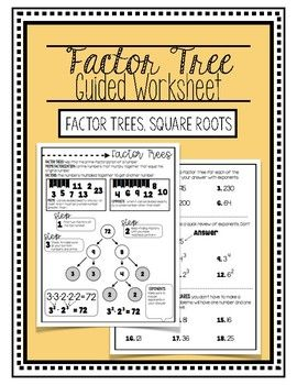 Factor Tree Guided Worksheet Factor Trees Worksheets Middle School Math