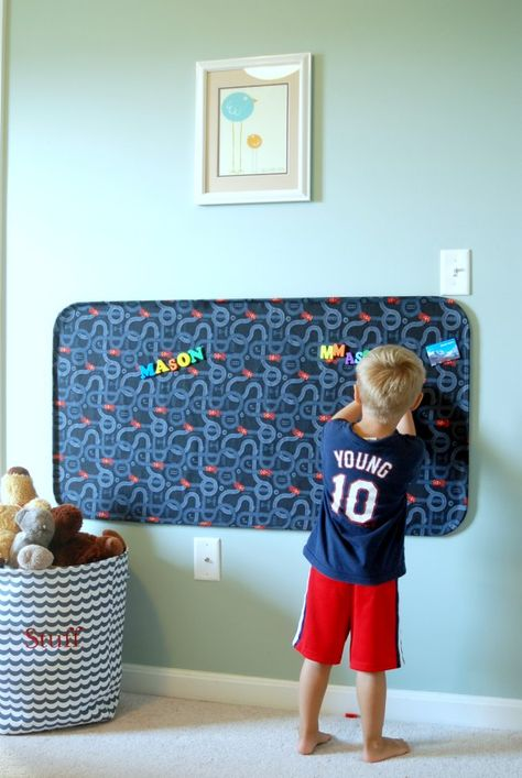 Make a huge fabric-covered magnet board out of an automotive oil drip pan and some fabric -- for less than $20! Transform an oil drip pan into fabulous play place!