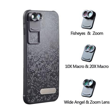 2017 nueva lente gran angular zoom apexel dual teléfono telescopio macro kit de lente de la cámara de ojo de pez móvil con el caso para apple iphone 7 plus