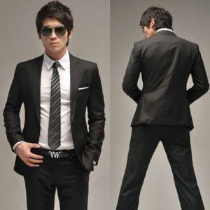 Men Full dress Casual Black Slim-fit Suit jacket | For HIM ...