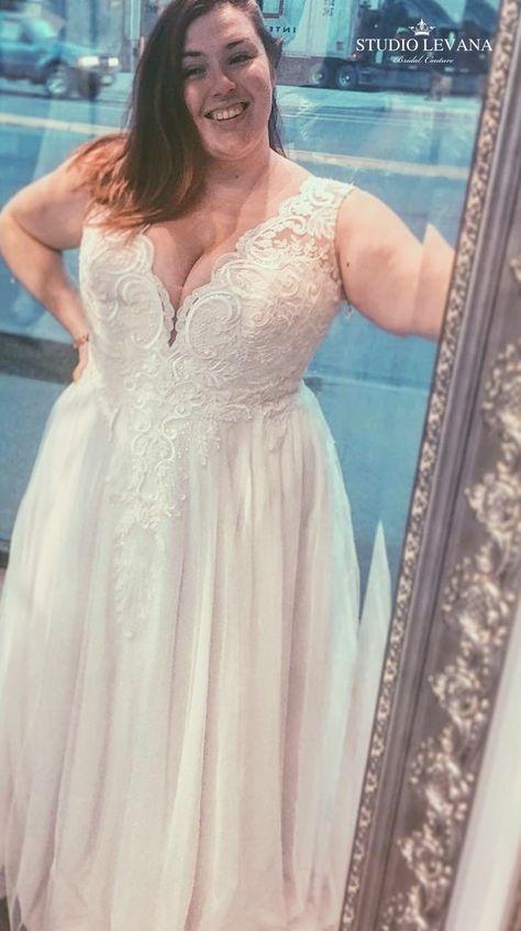 45f09e486d1e Real bride in a romantic lace and tulle plus size wedding dress. Tracie.  Studio