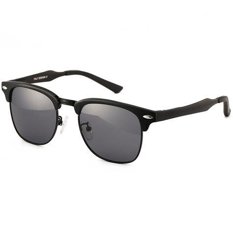 25c2ef8c04 Classic Polarized Clubmaster Sunglasses Horn Rimmed Half Frame - Black  Lens+black Frame - CV128LEAPPR - Women s Sunglasses
