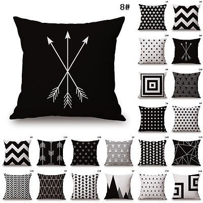 Black White Cotton Linen Throw Cushion Cover Pillow Case Waist For Home Sofa Dekorativnye Podushki Podushki Elementy Dizajna